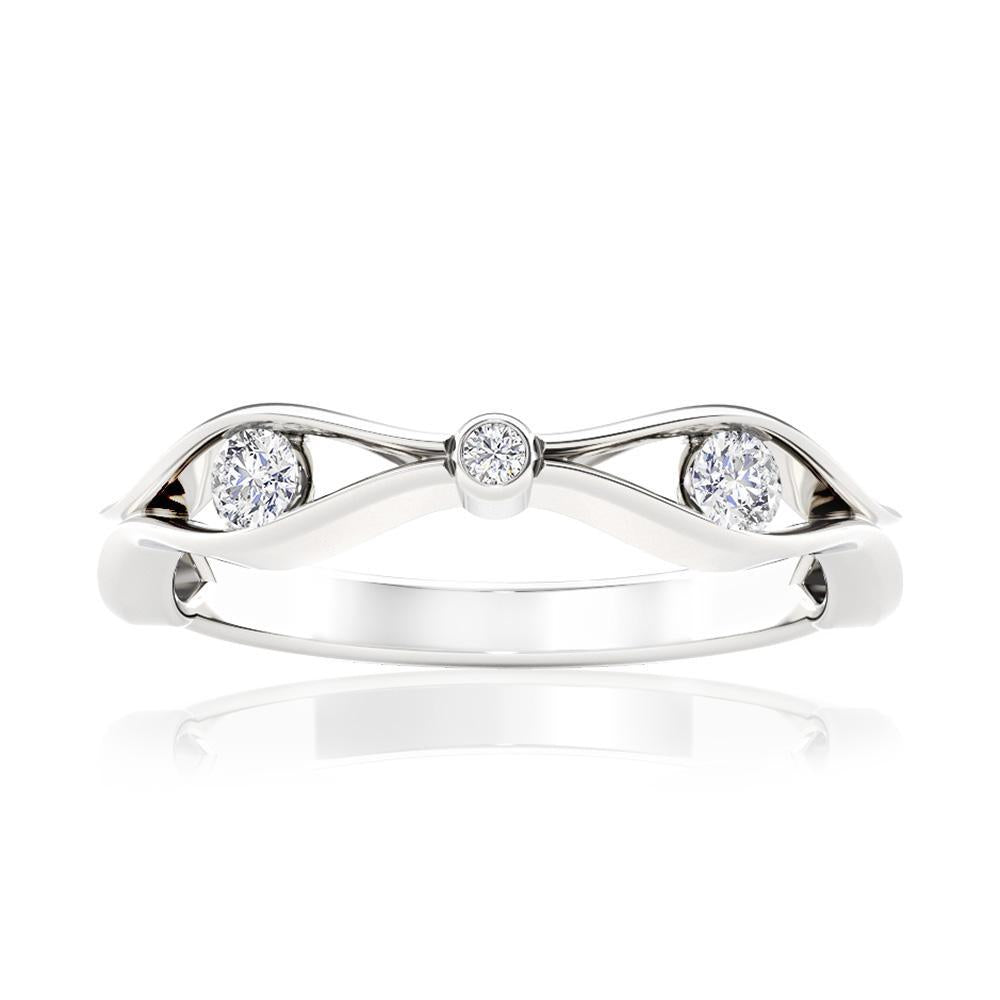 Triple Diamond Stackable Ring in 14K White Gold