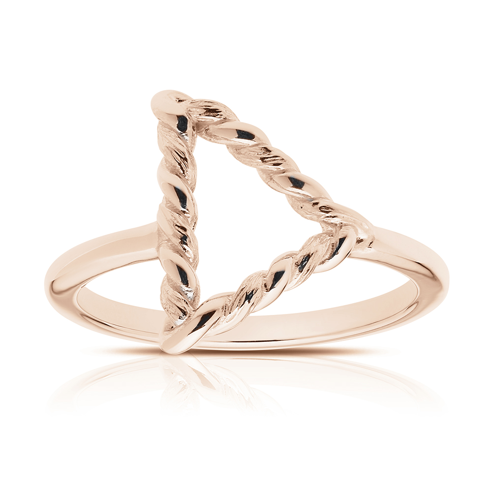 Twisted Geometic Ring in 14K Rose Gold
