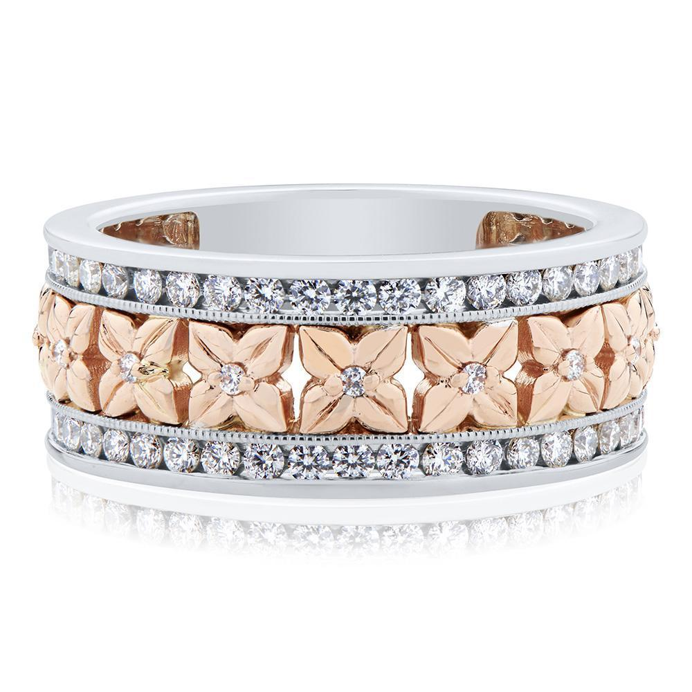 Florette Diamond Ring in 14K White, Yellow & Rose Gold