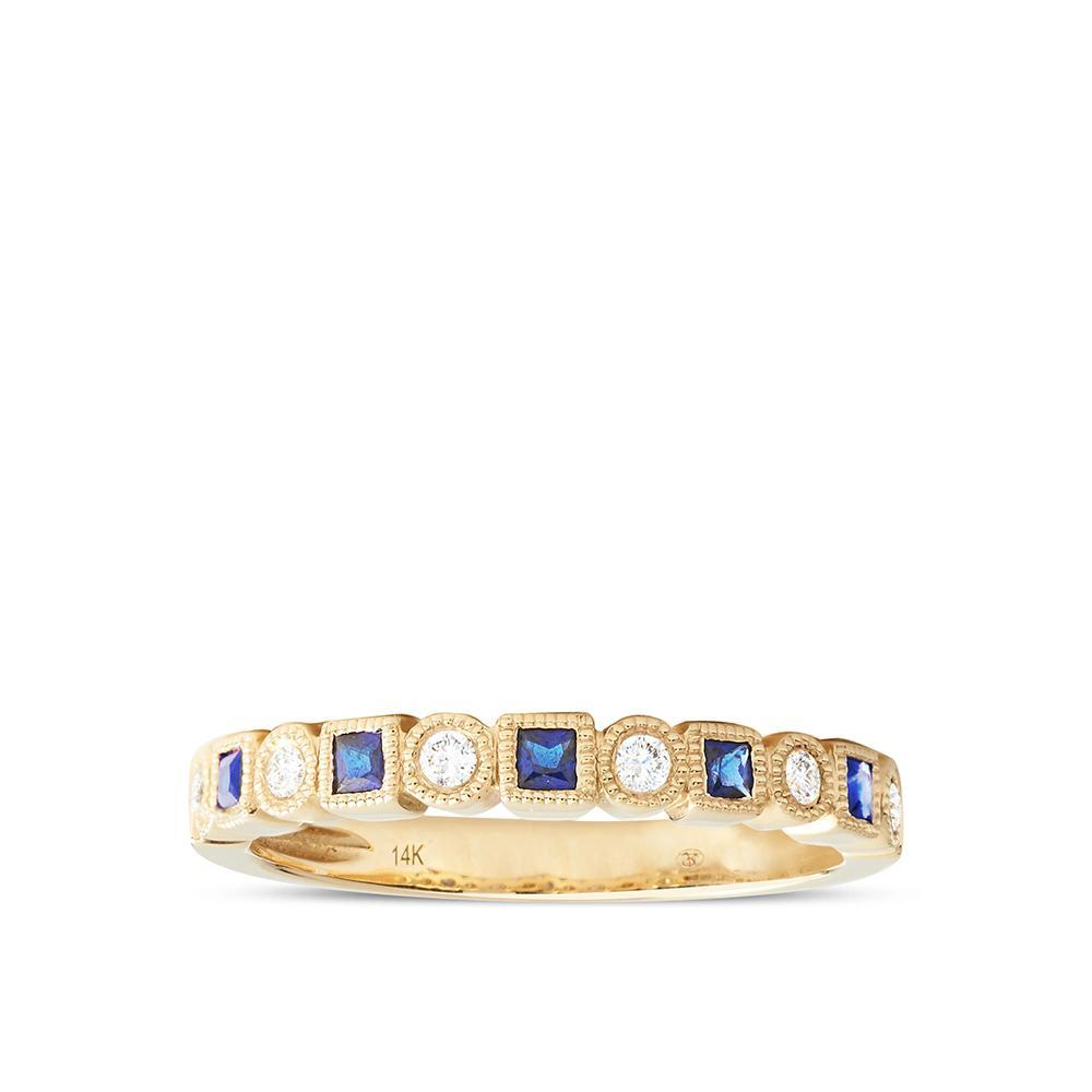 Diamond & Sapphire Milgrain Stackable Ring in 14K Yellow Gold