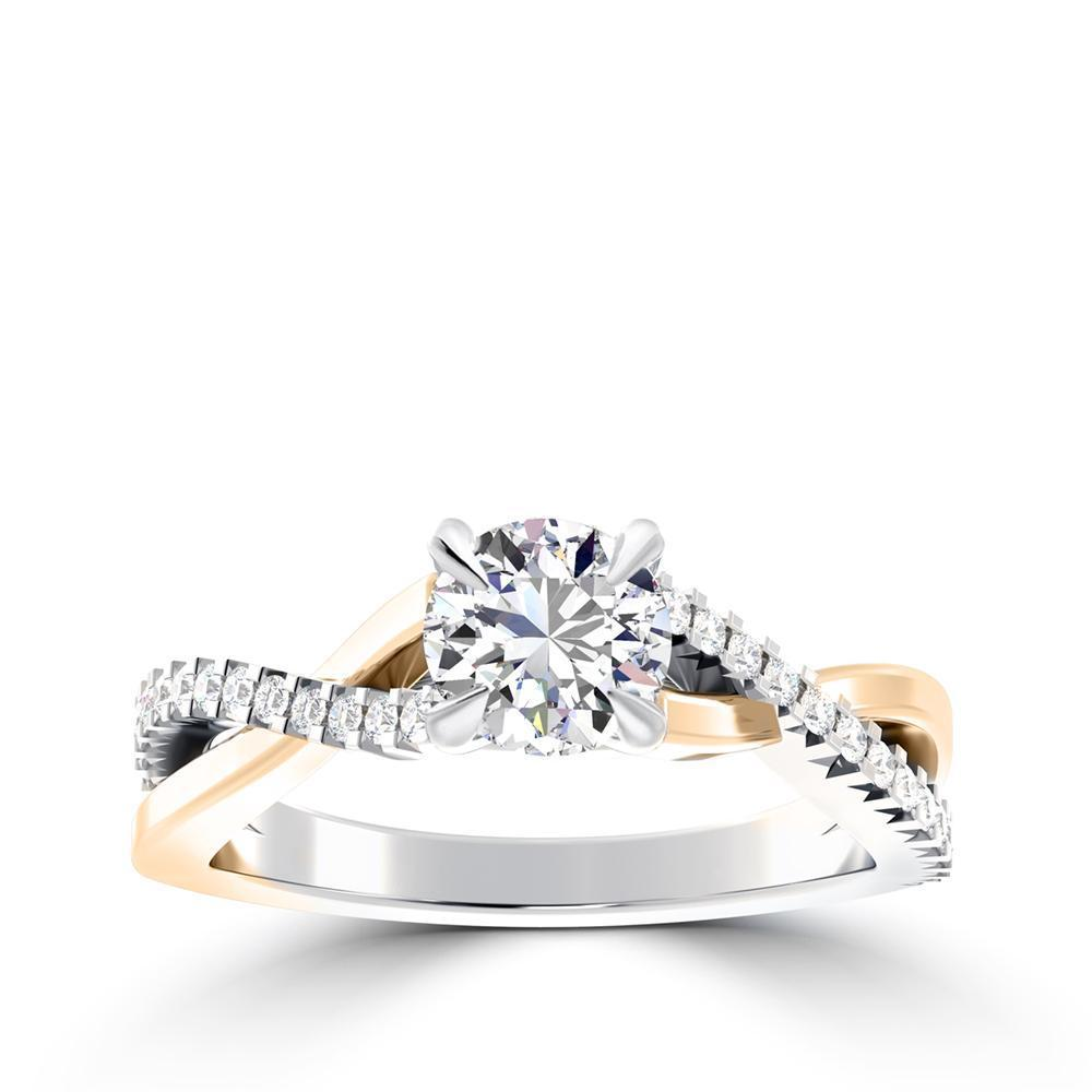 Round Center Stone Two-Tone Diamond Crossover Engagement Ring in 14K White & Yellow Gold