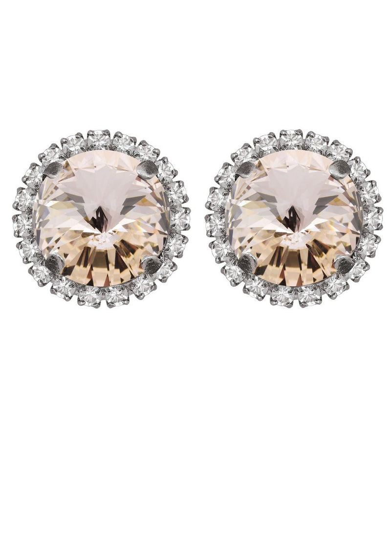 Silk Rivoli Crystal Earrings With Strass Antique Silver Studs Rebekah Price