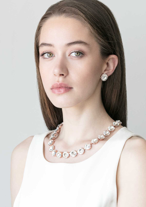 Crystal Rivoli Studs With Strass Rose Gold Crystal Rivoli Necklace Rebekah Price Fashion Jewelry