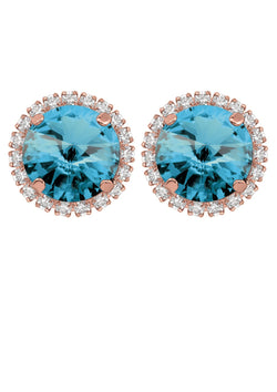 Aquamarine Rivoli Studs with Strass