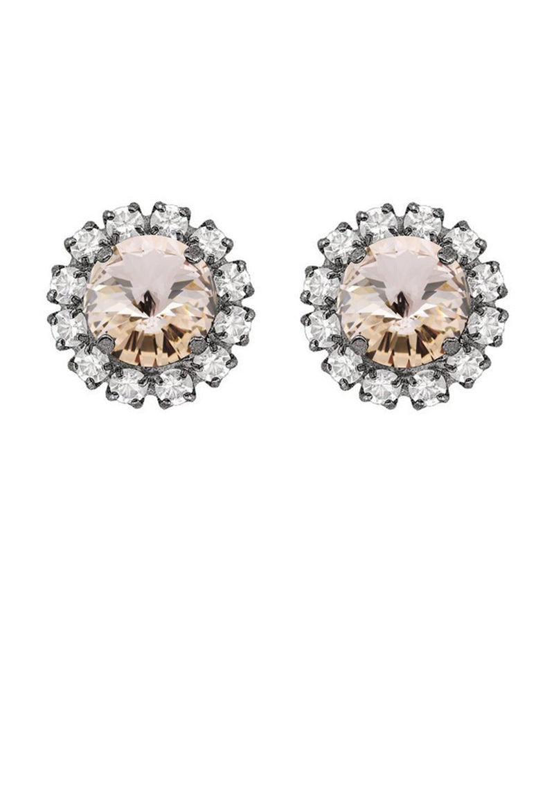 Silk Rivoli Mini Studs with Strass
