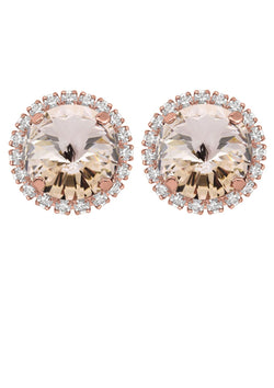 Silk Rivoli Crystal Earrings With Strass Rose Gold Studs Rebekah Price