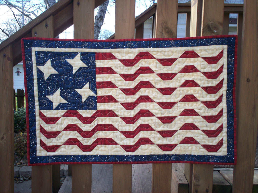 patriotic wall hanging easy to piece red white and blue