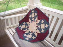 Load image into Gallery viewer, Patriotic table topper pieced quilt pattern red white and blue