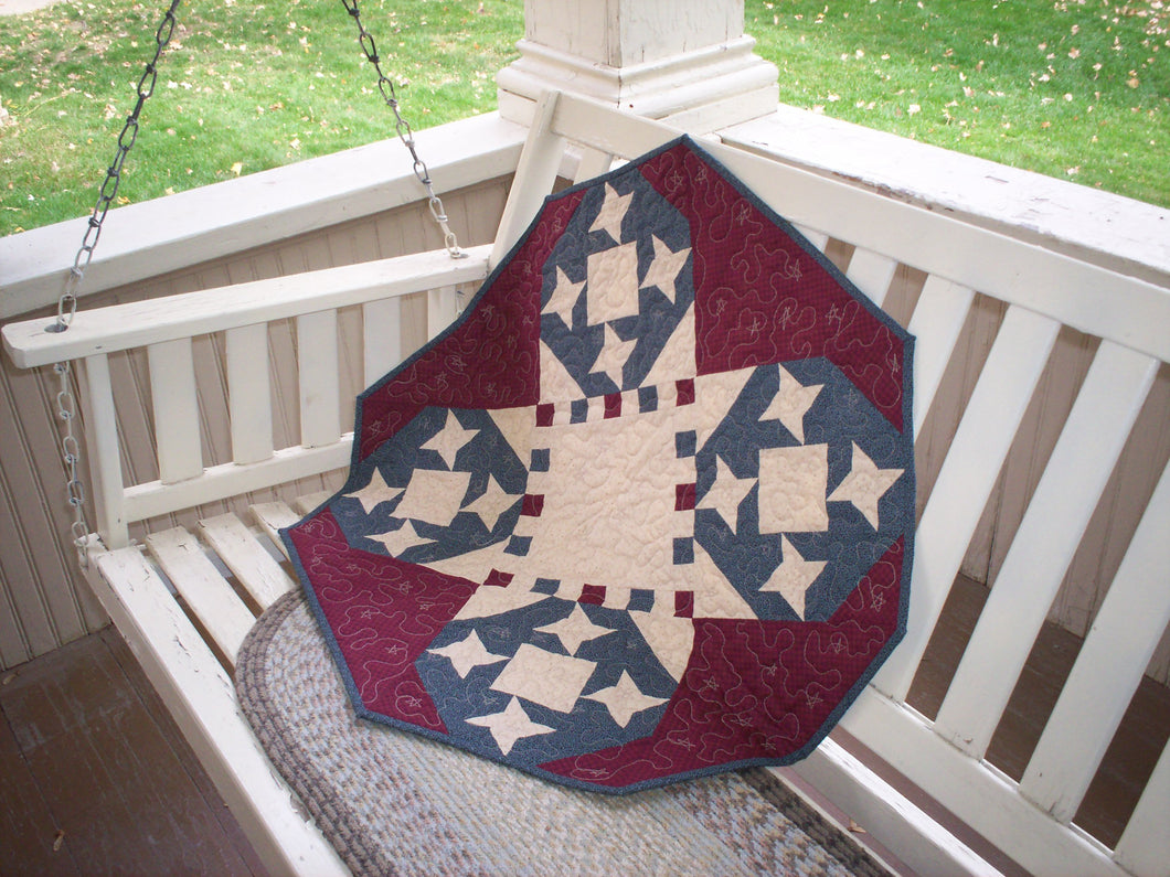 Patriotic table topper pieced quilt pattern red white and blue