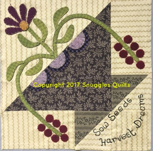 wool applique block for 2017 block of the month by Snuggles Quilts