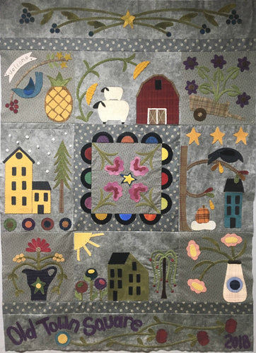 wool applique block of the month pattern for 2018 by Snuggles Quilts