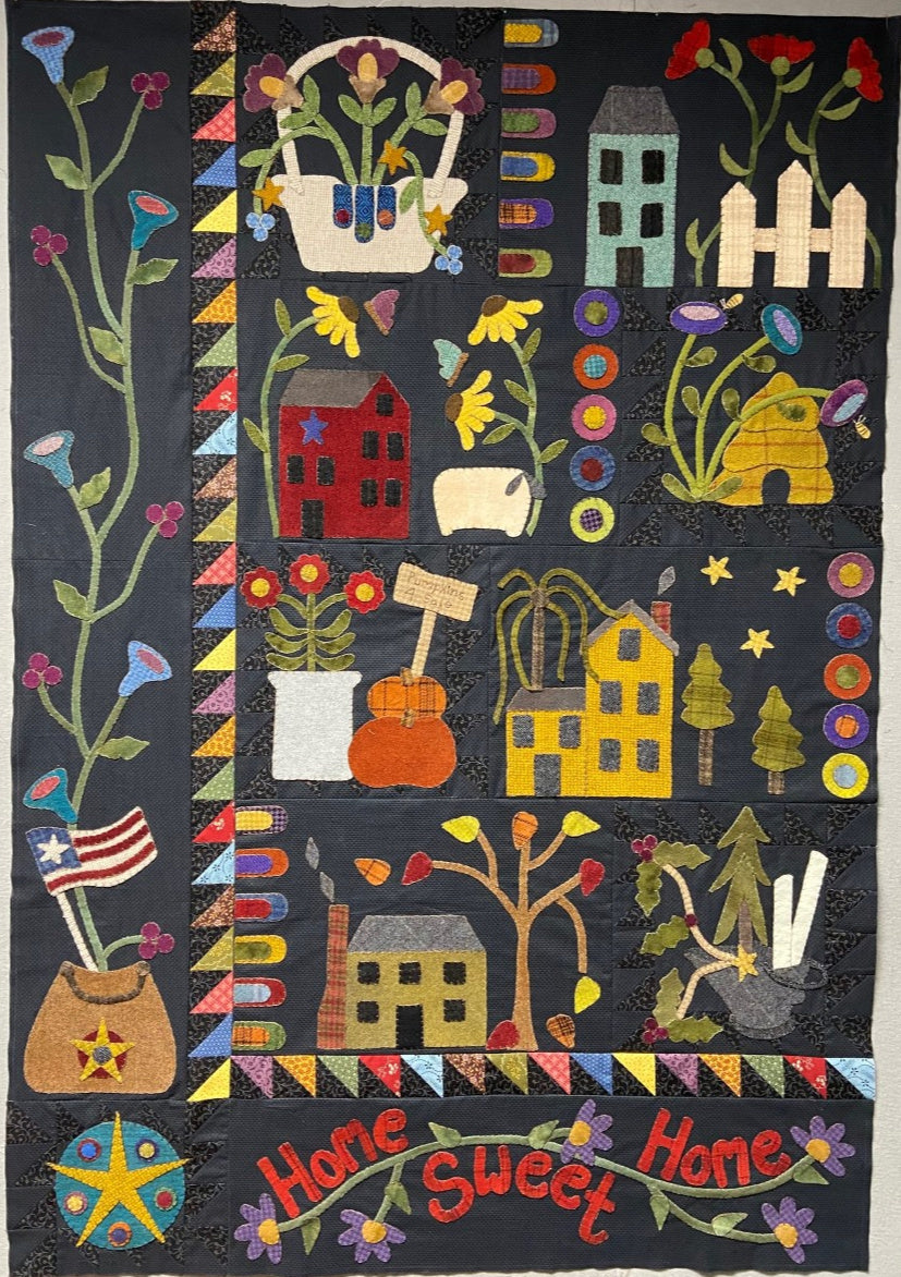 wool applique wall hanging block of the month quilt pattern