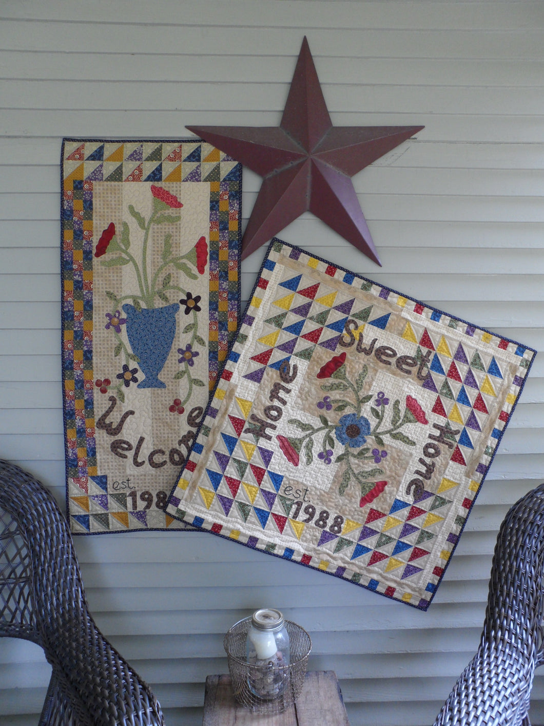 Scrappy applique wall hanging and table topper quilt pattern