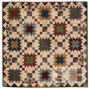 Prairie Sky Lap Quilt Pattern This beautiful lap quilt is designed using the new Simply Primitive collection from Batik Textiles. Yes, I said batiks!  These fabrics are designed to blend beautifully with primitive and 1800's reproductions.  Quilt size: 66 x 66″.