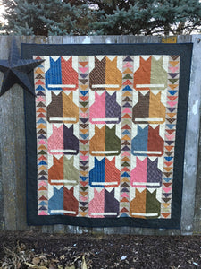 Scrappy lap quilt pattern designed by Deanne Eisenman for Snuggles Quilts