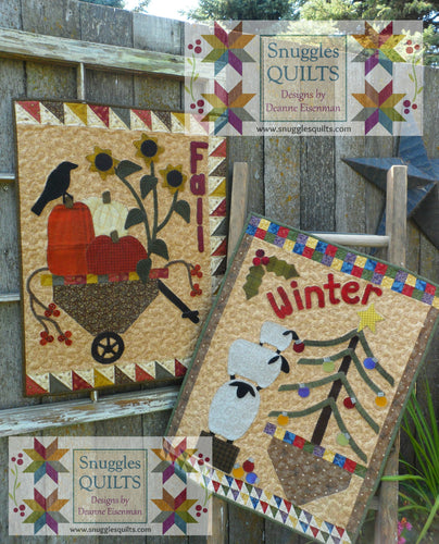 Wool applique on fabric seasonal wall hangings