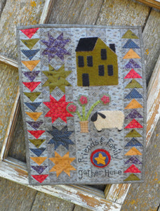 Wool applique on fabric mini wall hanging