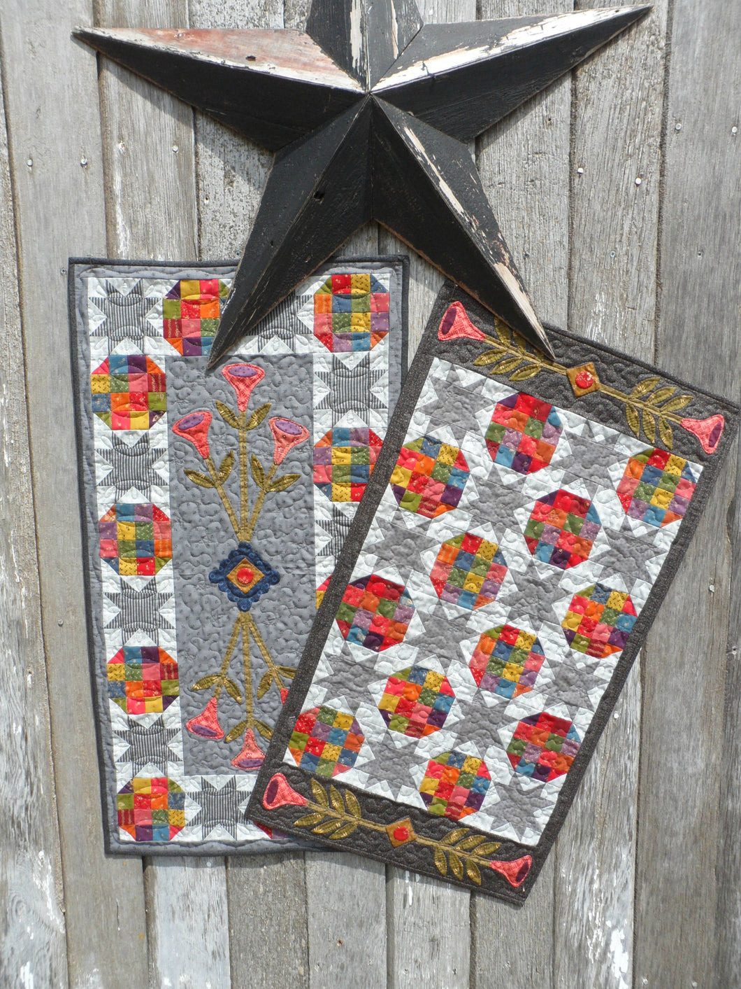 Scrappy table runner quilt pattern with applique