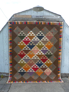 scrappy large quilt pattern with applique and scrappy border