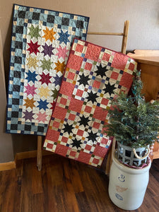 Scrappy table runner quilt patterns designed by Deanne Eisenman for Snuggles Quilts