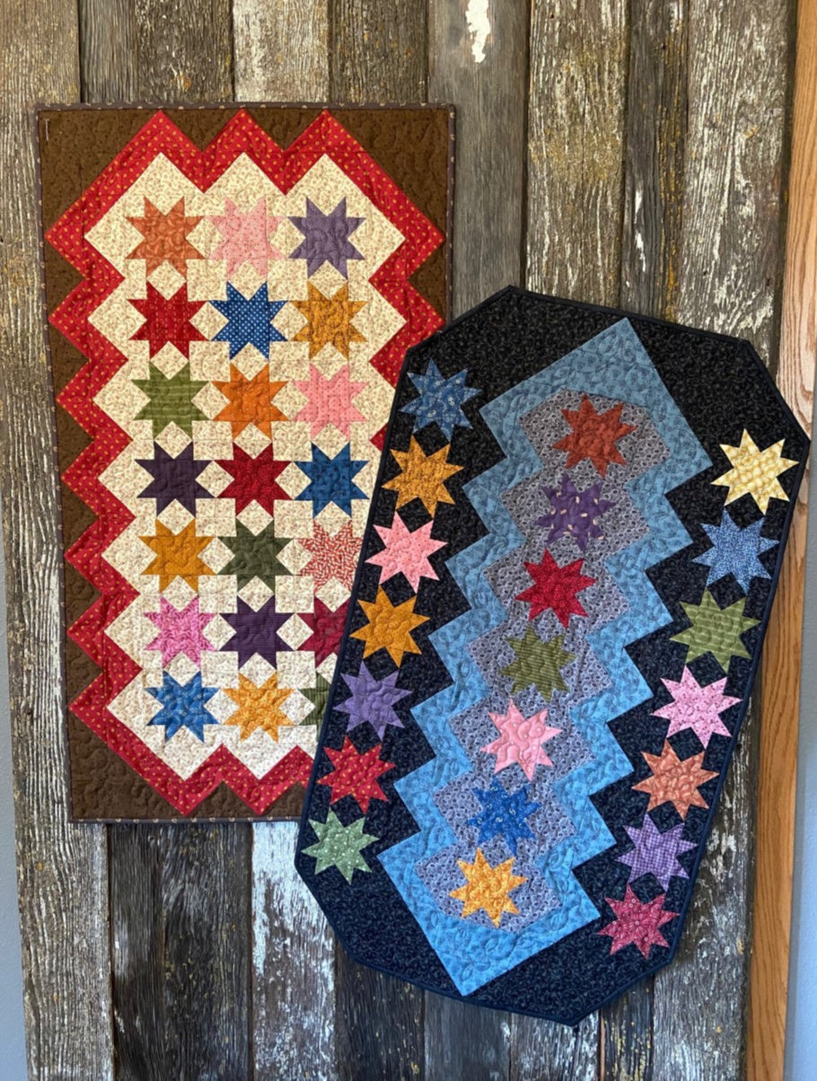 Scrappy table runner quilt pattern designed by Deanne Eisenman for Snuggles Quilts