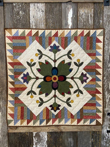 Picket Fence Blooms Wool Applique Quilt Pattern - PDF