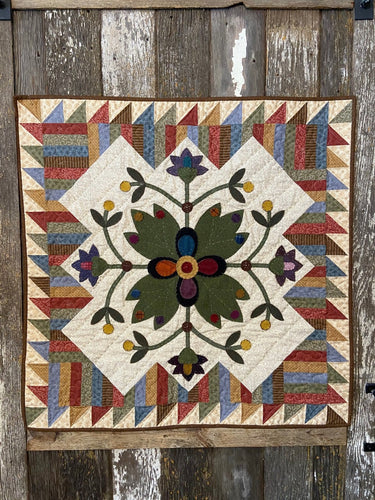 Picket Fence Blooms Wool Applique Quilt Pattern