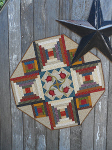 scrappy table topper quilt pattern with applique