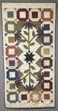 Load image into Gallery viewer, scrappy table runner quilt pattern with applique charm square friendly