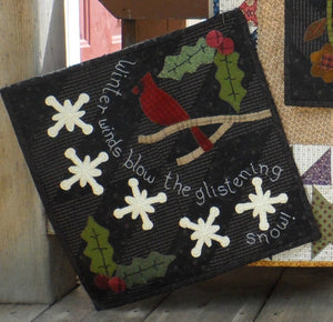 seasonal wool applique on fabric quilt pattern winter panel
