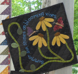 seasonal wool applique on fabric quilt pattern summer panel