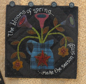 seasonal wool applique on fabric quilt pattern spring panel