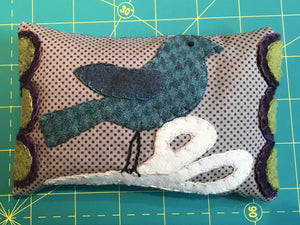 Wool applique pin cushion pattern