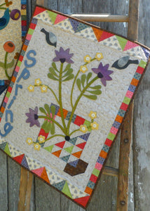 Wool applique on fabric seasonal wall hanging - Spring