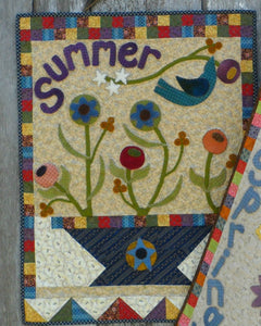 Wool applique on fabric seasonal wall hanging - Summer