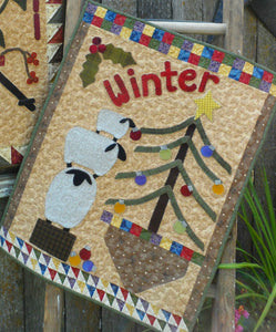 Wool applique on fabric seasonal wall hanging - Winter
