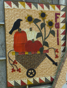 Wool applique on fabric seasonal wall hanging - Fall
