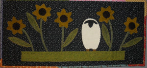 Wool applique on fabric quilt pattern table runner wall hanging