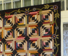 Load image into Gallery viewer, scrappy lap quilt pattern with floral applique accent