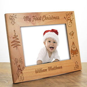 Personalised Christmas Photo Frame Babys First Christmas Photo  Frame Engraved Photo Frame