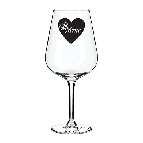 B Mine Valentines Engraved Wine Glass