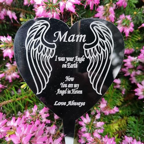 Personalised Memorial Angel Wings Grave Marker