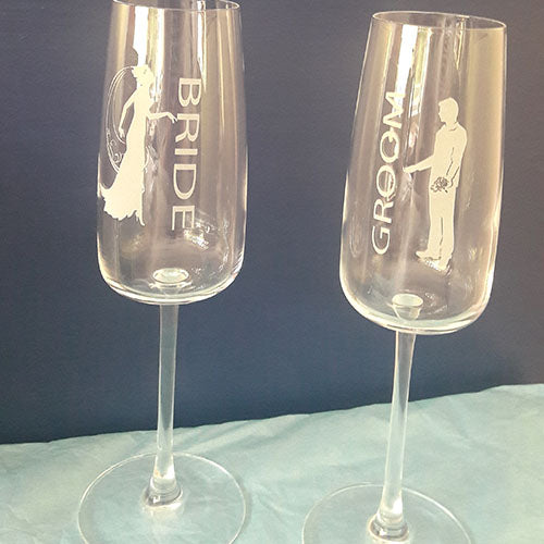 Bride and Groom Engraved Champagne Flutes