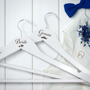 Bride and Groom Personalised Hangers Engraved Bride and Groom Wooden Hangers