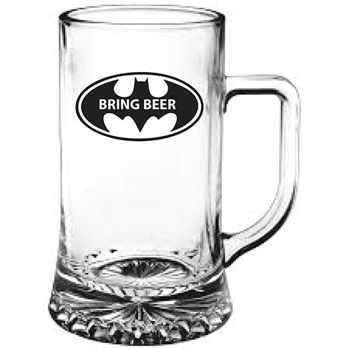 Bat Man Themed Bring Beer Engraved Beer Tankard