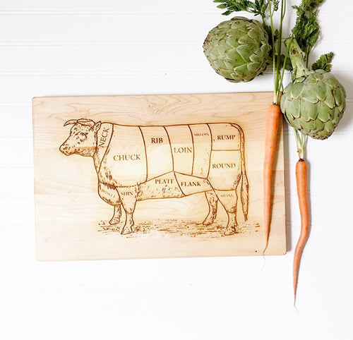 Butchers Cow Engraved Chopping Board Personalised Chopping Board