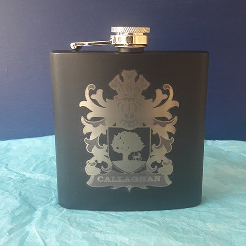 Callaghan Family Coat of Arms Engraved Hip Flask
