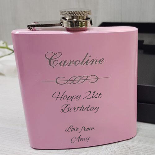 Engraved Pink Hip Flask