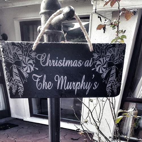 Slate Christmas Hanging Decoration Engraved With Family