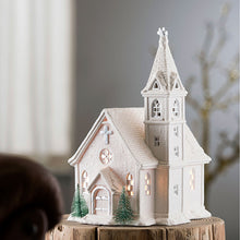 Load image into Gallery viewer, Christmas Lamp Christmas Scene Christmas Church Church Lamp Christmas Lighting Belleek Church Lamp